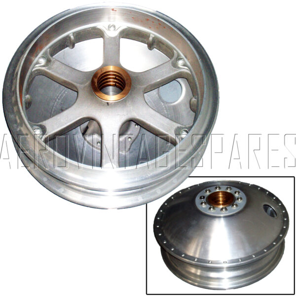 These are superbly made to the original Dunlop design that has a cast main part, supported by a spun alloy cover and is complete with access hole for the tyre valve and bronze bearings. The brake lining is steel, and the main casting is in a modern aluminium alloy and not the magnesium formerly utilised which rots so easily. These wheels are extremely costly to mak, due to the very complex design of the times. They come either in natural finish or for a little extra, painted in the Dunlop bright silver finish.  Price per pair.