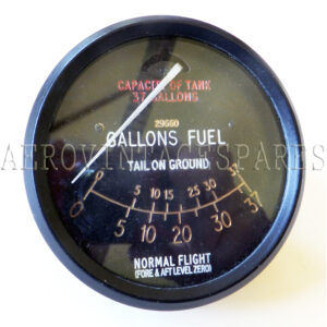 6A/703 - Fuel gauge, Spitfire.  37 gallons bottom tank. Original new/old stock. Gauges are rebuilt, coils rewound as necessary and tested.  (Please note: this works with sender 6A/705)
