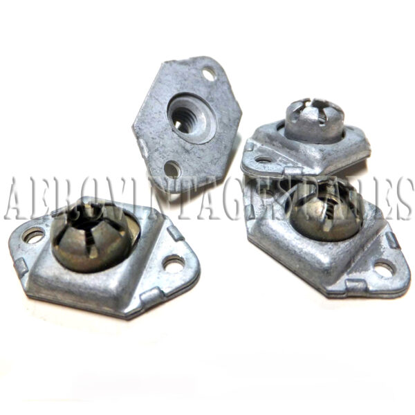 AGS 2012-C 2BA Floating Double-Lug Anchor Nut.  All steel cadmium plated. Nyloc version £2.50 each.   All metal Oddie version £2.50 each.   All new surplus stock in pristine condition.  Modern ones are gold passivated, these are clear (silver-like) finish just as they had in WW2