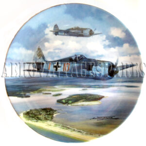 Coalport Limited Edition of a 'Focke-Wulf Fw 190' by Michael Turner in the 'Flight of Eagles' collection which is produced on Coalport fine bone china in an edition limited to a maximum of 75 firing days and crafter to the exacting standards of The Bardford Exchange. This plate is officiall listed on The Bradford Exchange Note: Not for food use.  Food consumed from this vessel may be harmful.  For decorative purposes only.