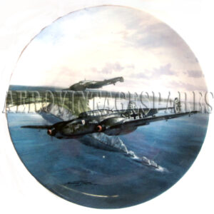 Coalport Limited Edition 'Messerschmitt Bf 110' by Michael Turner in the 'Flight of Eagles' collection which is produced on Coalport fine bone china in an edition limited to a maximum of 75 firing days and crafted to the exacting standards of The Bradford Exchange. This plate is officially listed  for trading on The Bradford Exchange Note: Not for food use.  Food consumed from this vessel may be harmful.  For decorative purposes only.