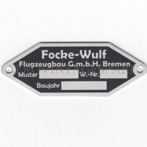 Fokker-Wulf aircraft data plate. An exact copy of one found on a Messerschmitt 109E, bas relief.