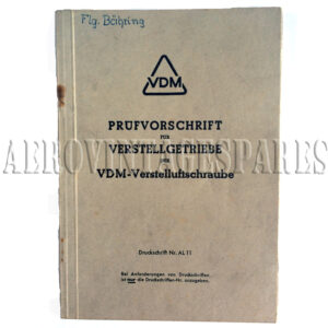 Written in German WWII VDM manual that deals with the pitch control mechanism fitted to aircraft such as the Messerschmitt 109e. Dated 1941. Photographs and diagrams. Loose binding but complete