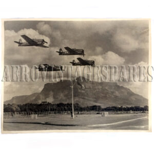 Original black and white photo of Hellcats flying over Cape Town.