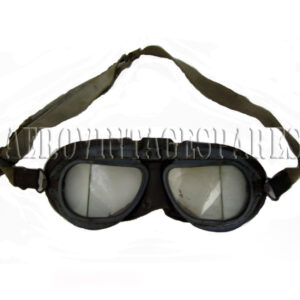 RAF Mk VIII goggles.   WWII period, marked indistinctly 22c/930.  Elastic has lost its elasticity and laminated glass discoloured but is good, untouched and honest goggles of the type used by the RAF from 1943.   Intials 'K.P.' on outside of the elastic.