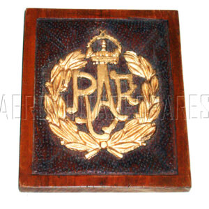 """Nicely carved (probably walnut) RAF badge in relief, coloured gold. It is 5"""" wide, 6"""" high and about 5/8"""" deep. There was a stand for it, but that is absent and it now has a brass wire and loops for hanging up."""