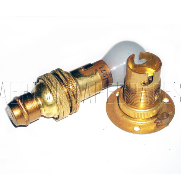 5C/278 - Spitfire Wing tip lamp bulb holder  Ref. 5C/278 - brass bulb holder with round flange. (less bulb)  Please note: Item pictured with 5C/785 (knurled socket) not included in this price.